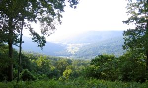 Looking out on the valley and Collins River from Beersheba Springs, TN